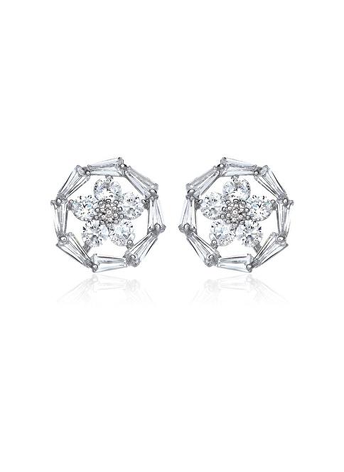 Tophills Diamond Co. 2,50 Ct Pırlanta Efekt Altın Daisy Trapes Küpe Renkli